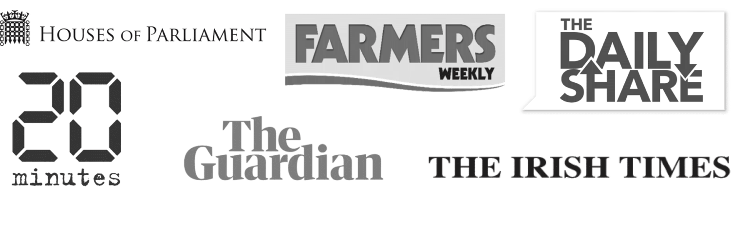 Contribly customer logos - the guardian - houses of parliament - 20minutes - the irish times - farmers weekly - the daily share