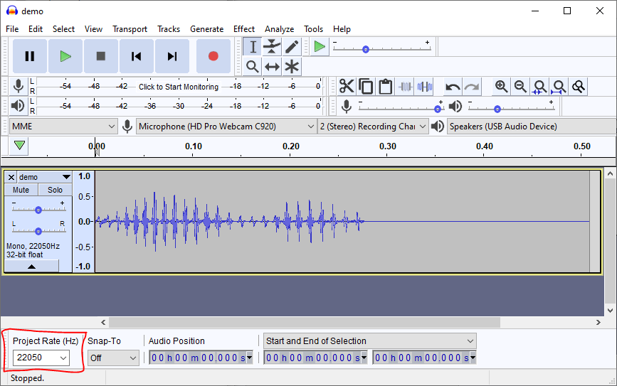 Sound file in Audacity