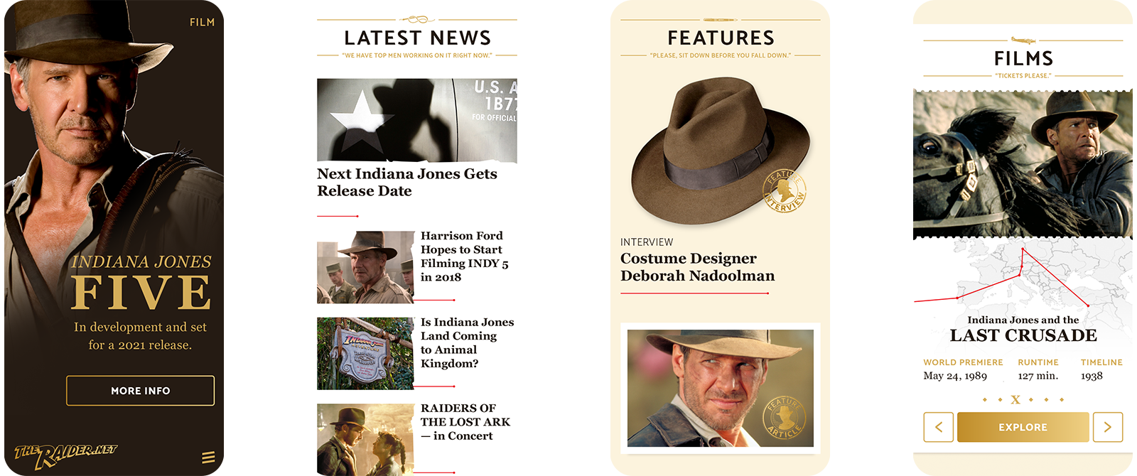 TheRaider.net mobile screens