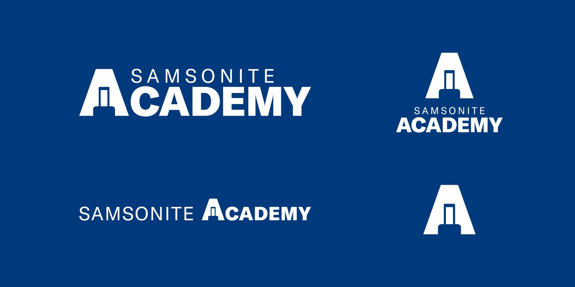 Samsonite Academy logo on blue