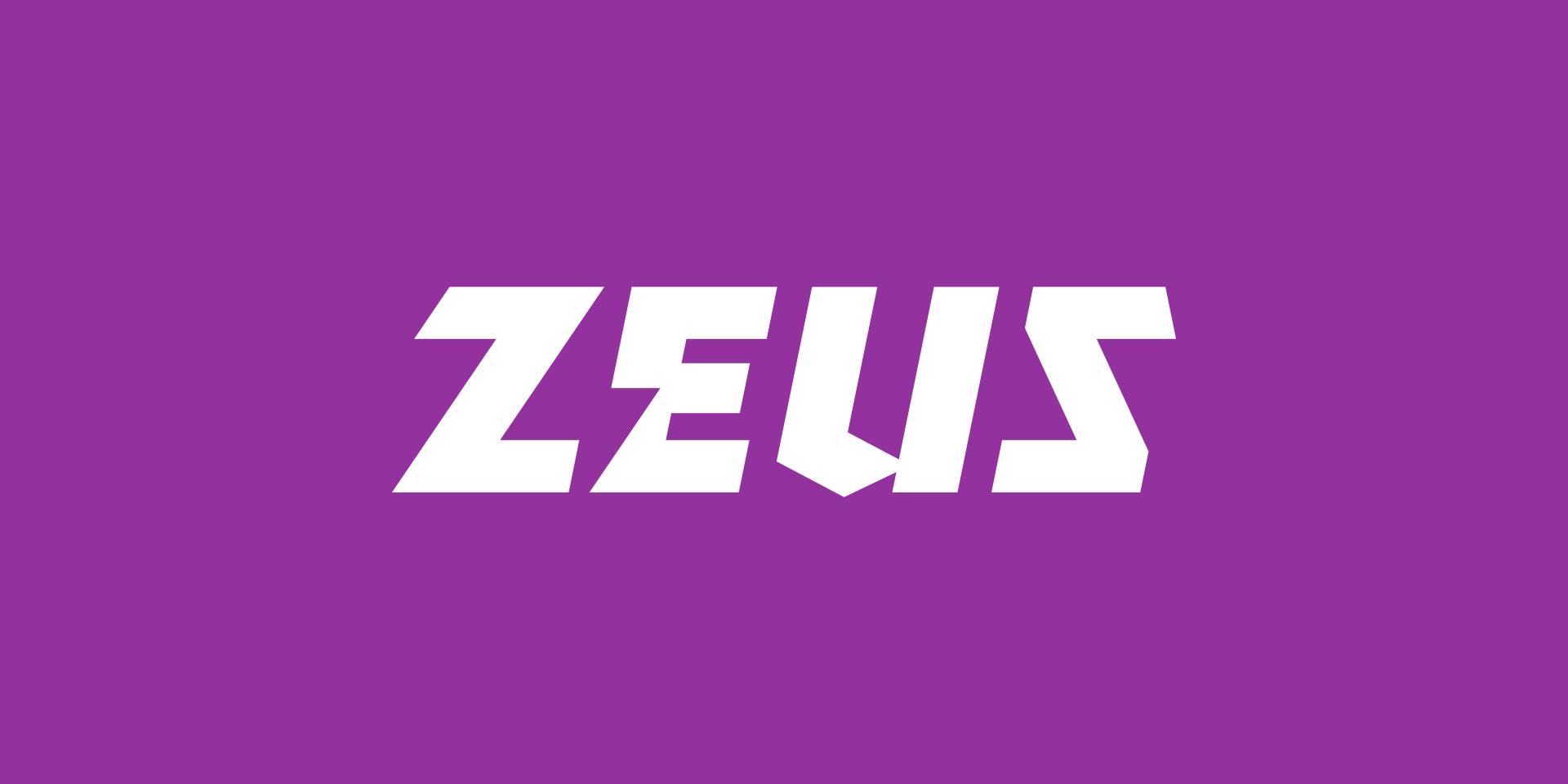 Zeus logo on purple