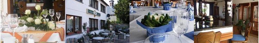 ein gedeckter Tisch im Restaurant, eine Außenansicht im Sommer, ein gedeckter Tisch im Saal und die Bar mit Barhockern