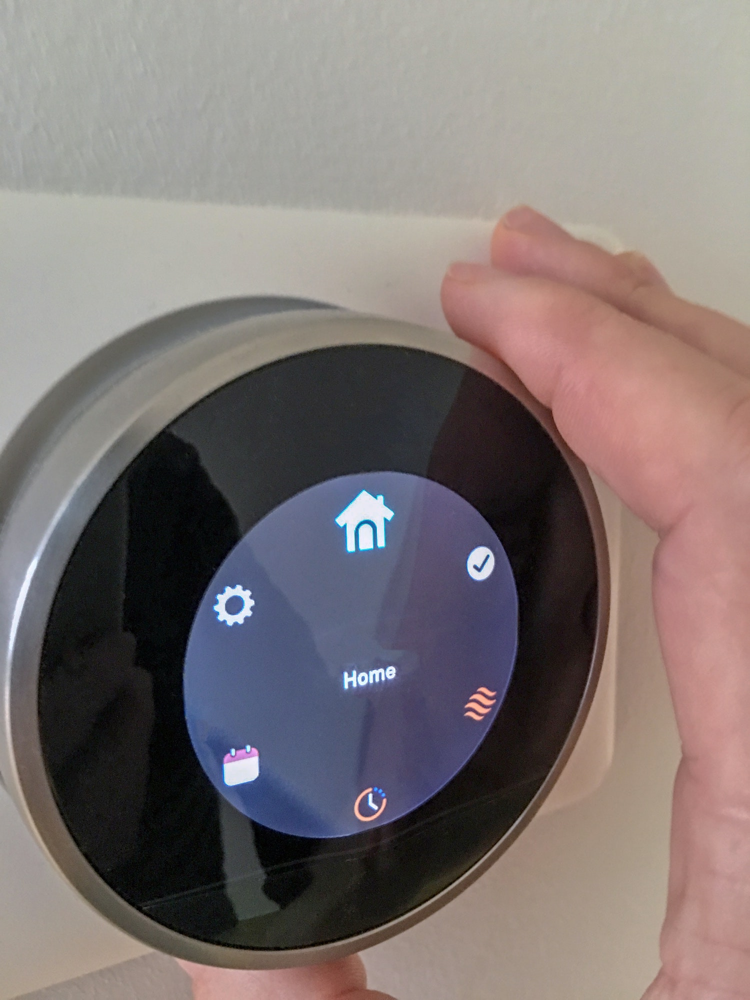 Smart home thermostat technology with hand