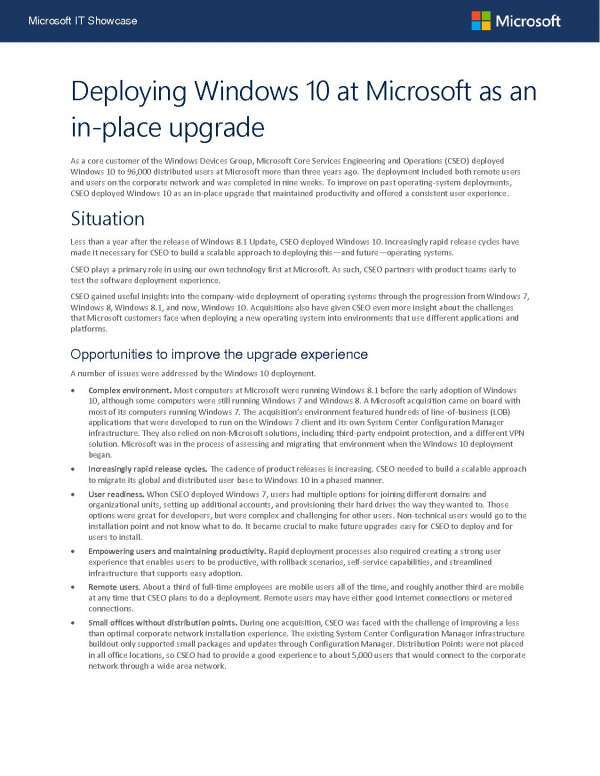 Deploying Windows 10 at Microsoft as an in-place upgrade