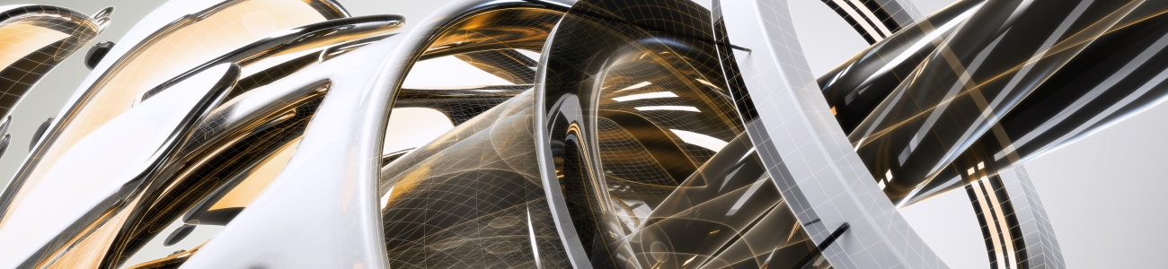 2016 hero image for Inventor Publisher. Rendering of an abstract composition designed and rendered in Autodesk(R) 3ds Max(R) software.
