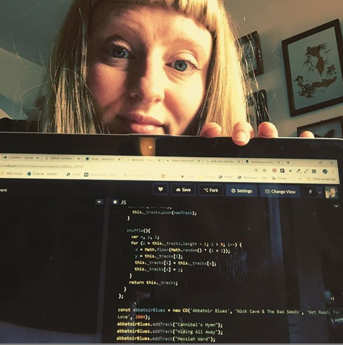 Me with my first ever shuffle algoritm, coded in JavaScript