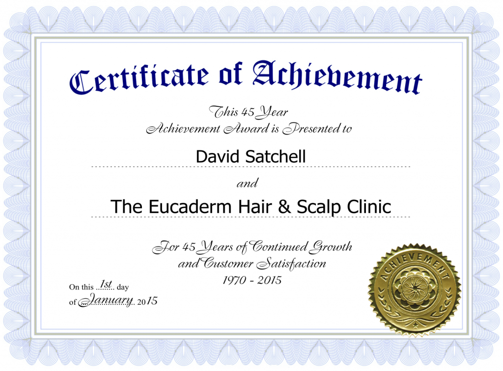 Eucaderm Certificate of Achievement