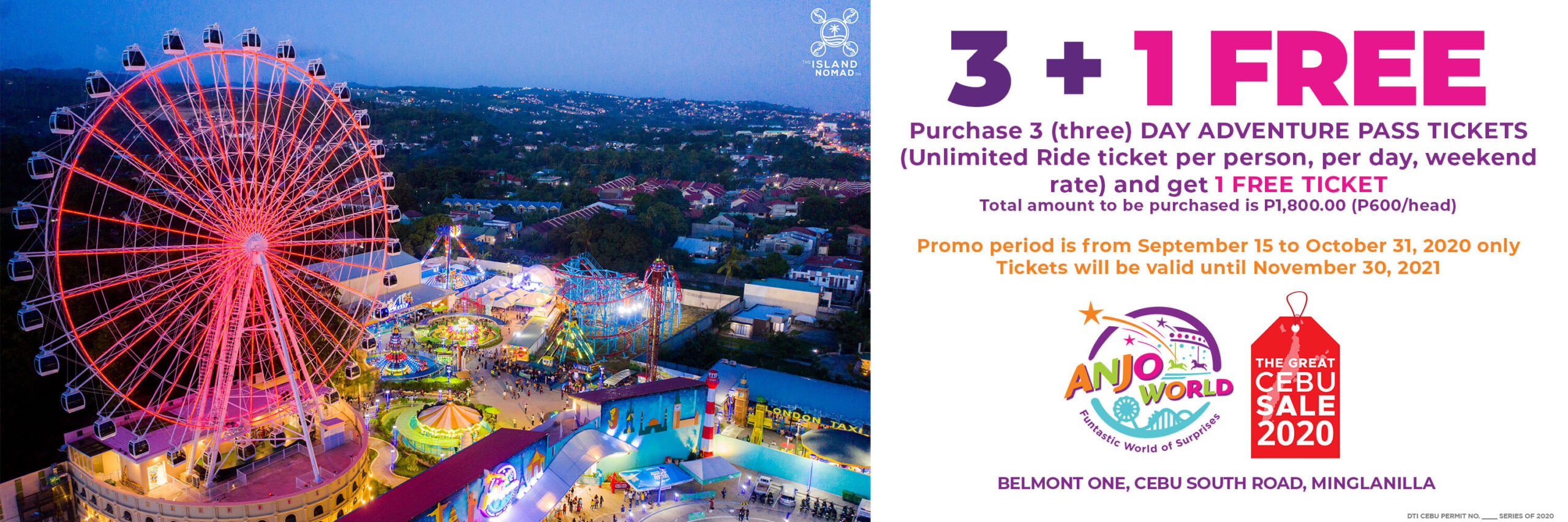 Anjo World offers 3+1 Day Adventure Pass Tickets promo