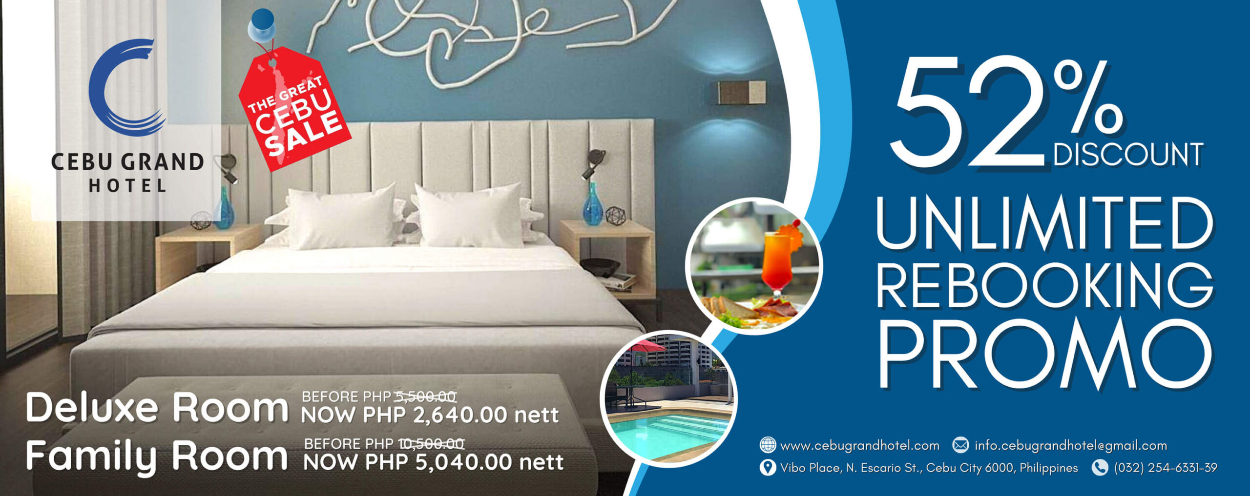 Cebu Grand Hotel offers 52% discount with unlimited rebooking