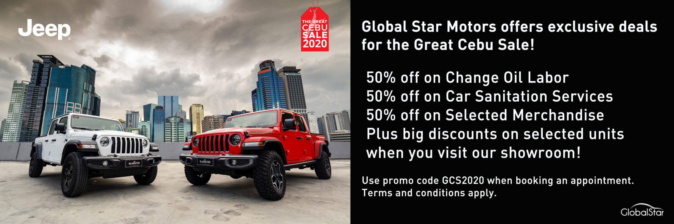 Global Star Motors offers 50% off on change oil labor, car sanitation, selected merchandise
