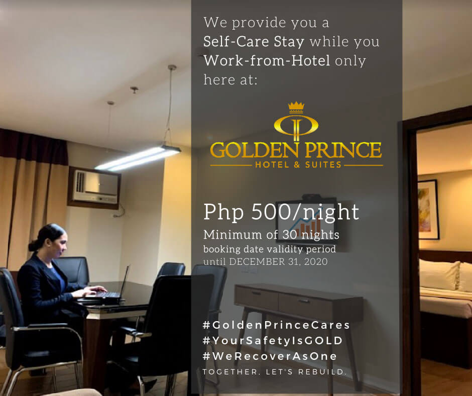 Golden Prince Hotel & Suites offers self-care stay, Work-from-Hotel package