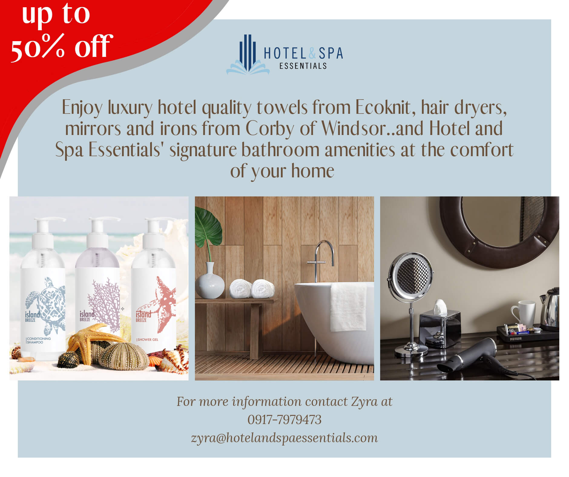 Hotel Spa Essentials offers up to 50% off