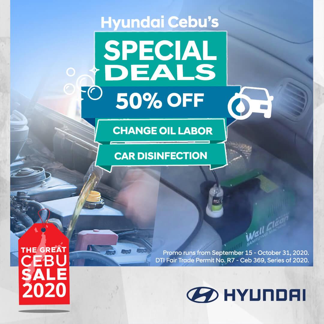 Hyundai Cebu offers 50% off on change oil labor, car disinfection