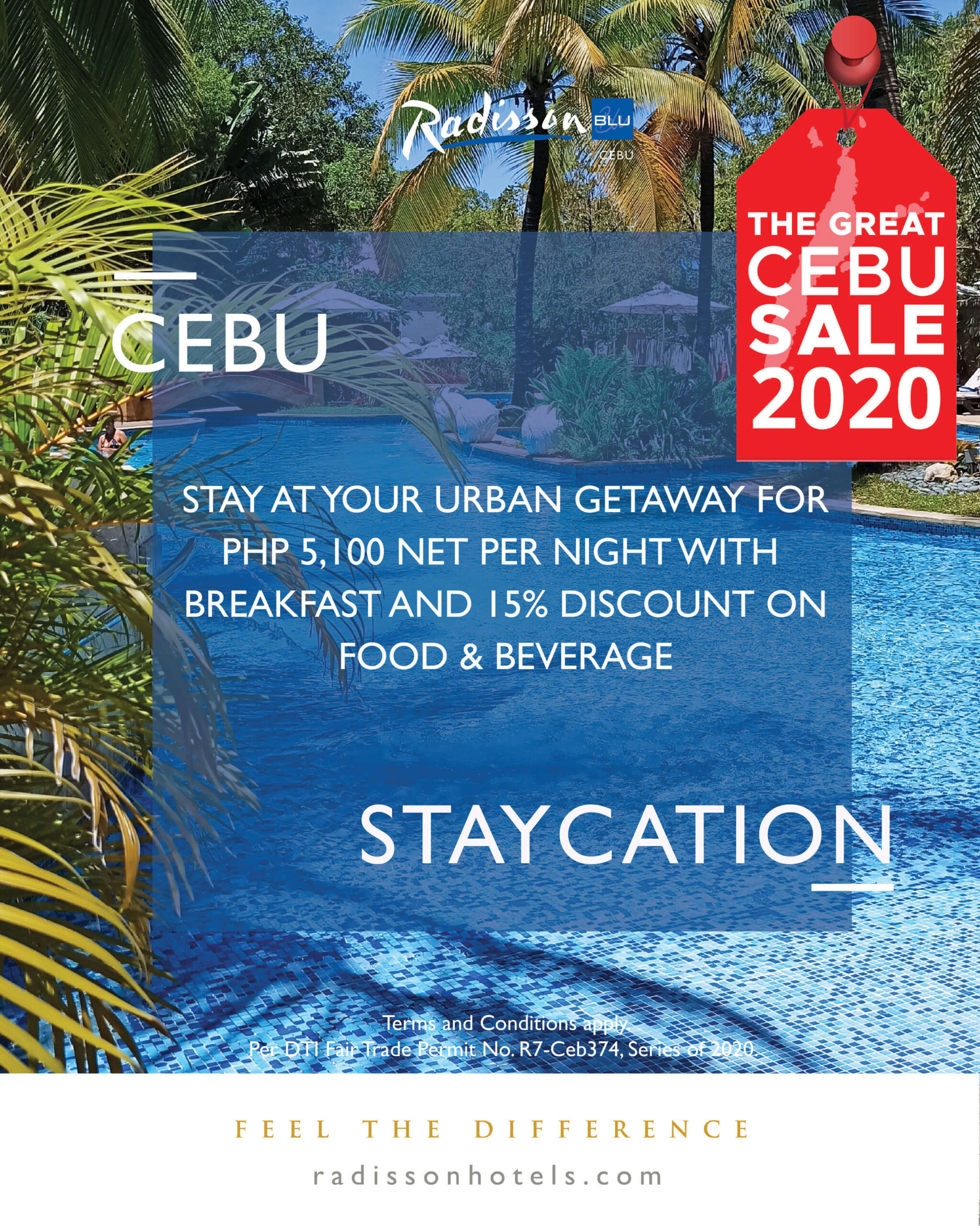 Radisson Blu Cebu offers staycation package, 15% discount on food and beverage, 50% off on essential aromatherapy massage