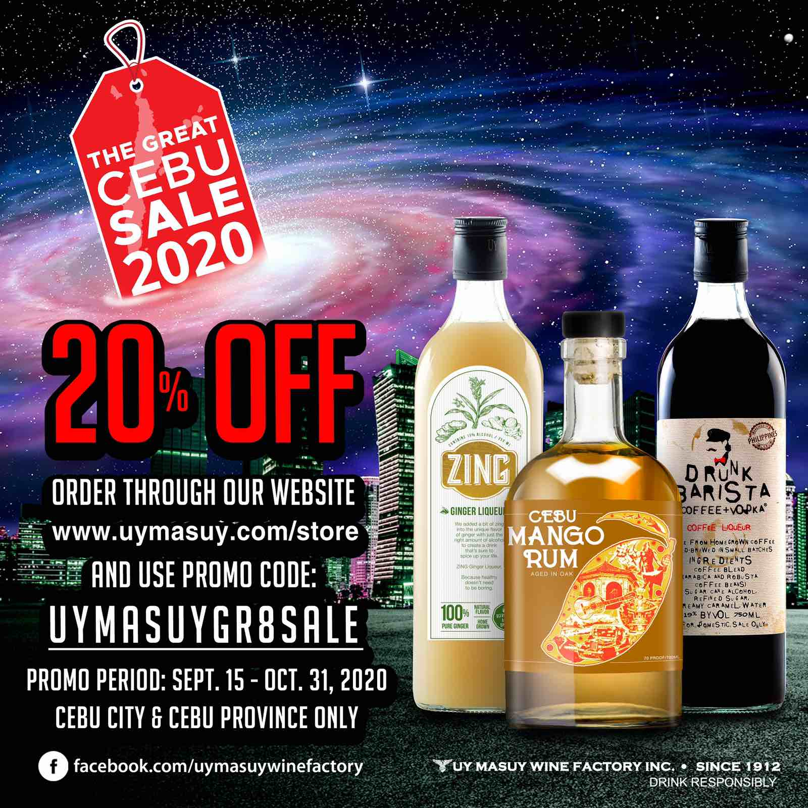 Uy Masuy offers 20% off on Drunk Barista, Cebu Mango Rum, and Zing Ginger Liqueur