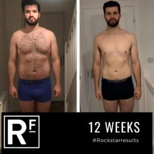 12 week body transformation london - Before and after-Alistair