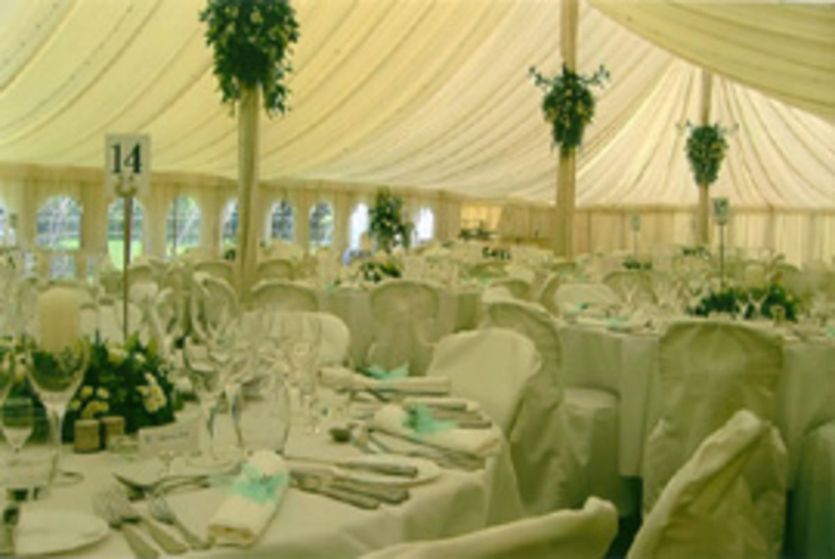County Marquees East Anglia - Marquee Hire Essex-large-marquee-interior-traditional-turquoise-wedding-decoration