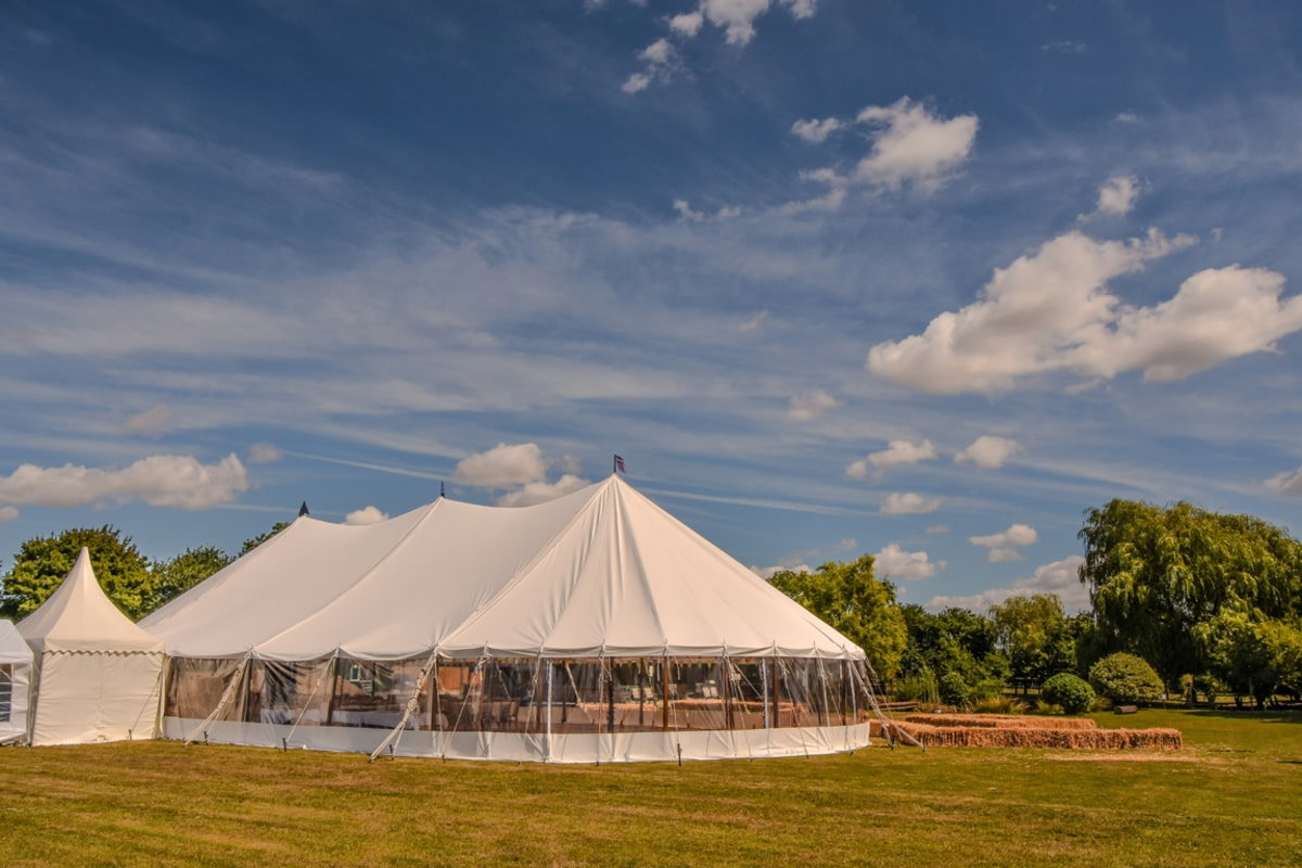 County Marquees East Anglia - Marquee Hire in Essex-large-sail-cloth-marquee-hire-with-chinese-hat-extension-min