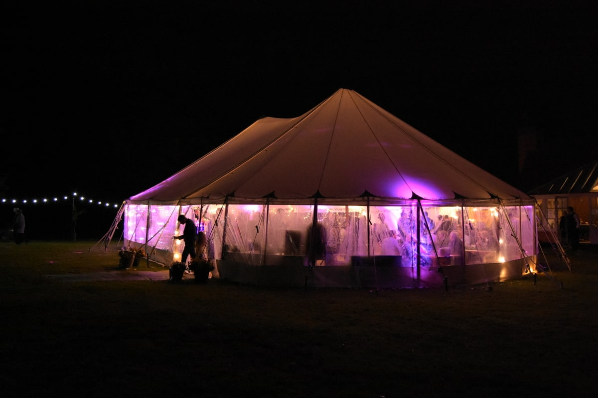 County Marquees East Anglia - Marquee Hire in Essex-sail-cloth-marquee-hire-night-exterior