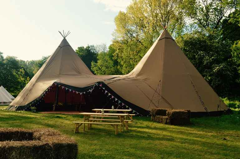 County Marquees East Anglia - Tipi Hire Essex - tipi-image-with-bench-in-foreground