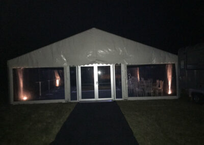 County Marquees East Anglia Clear Span Marquee Interior at Night-min