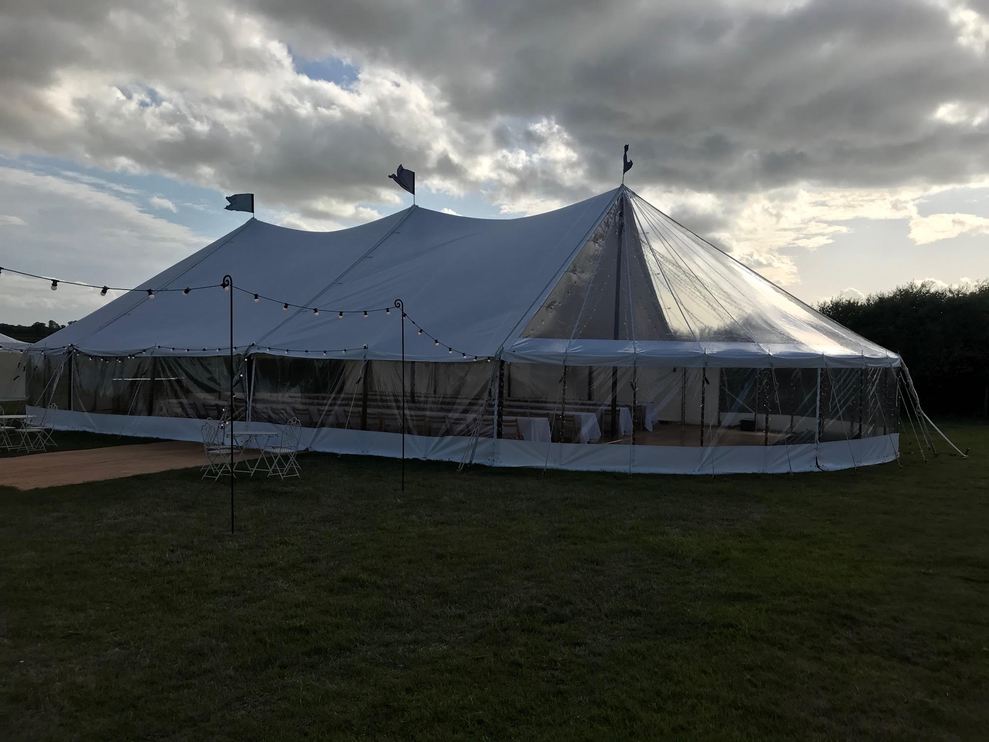County Marquees East Anglia Sail Cloth Marquee Hire with Festoon Lighting