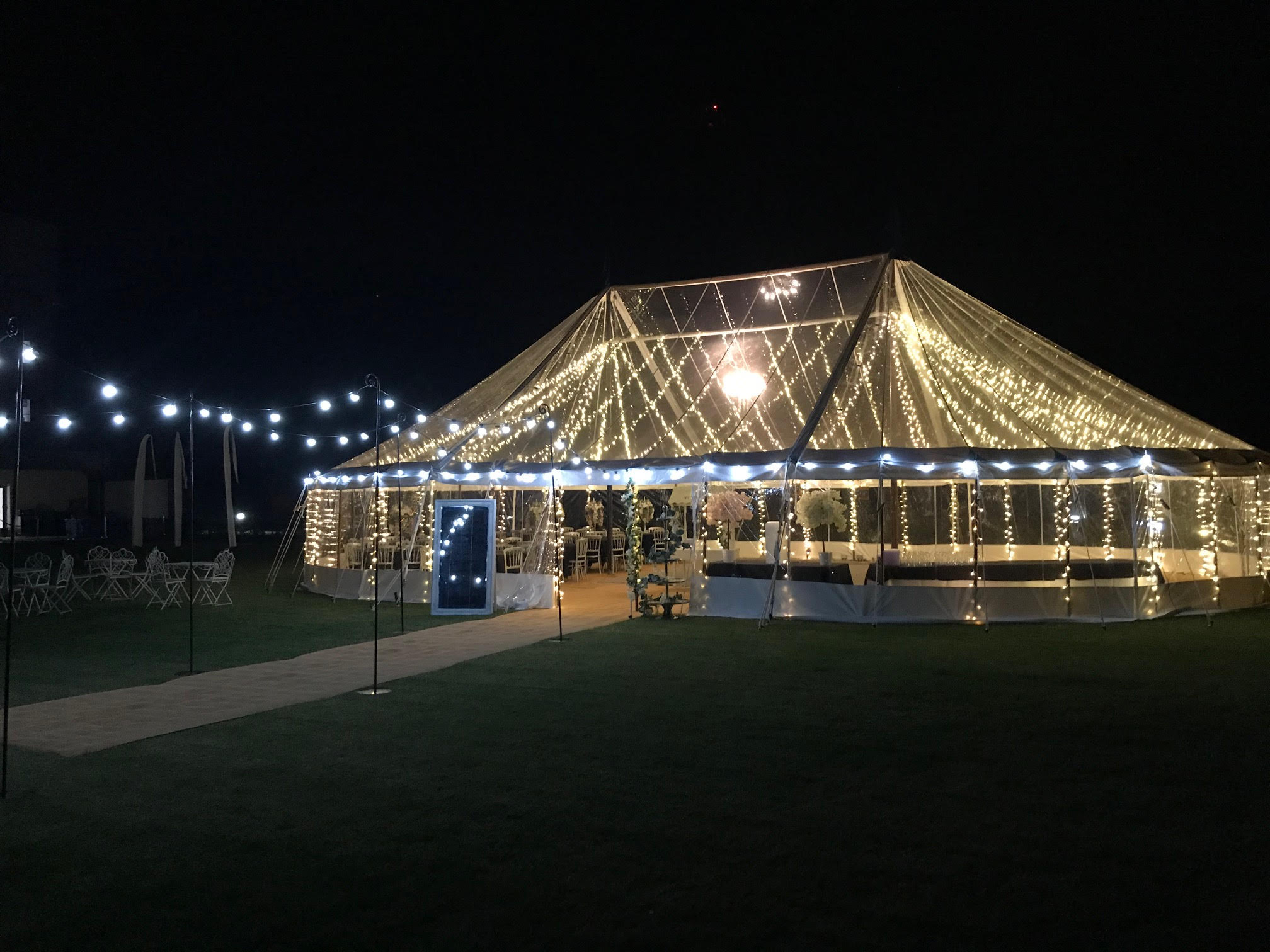 County Marquees East Anglia Transparent Traditional Marquee Hire with Festoon Lighting and Interior Lightin