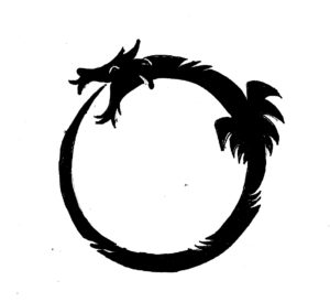 "The Ouroboros is an ancient symbol depicting a serpent or dragon eating its own tail. The name originates from within Greek language; (oura) meaning ""tail"" and (boros) meaning ""eating"", thus ""he who eats the tail""."