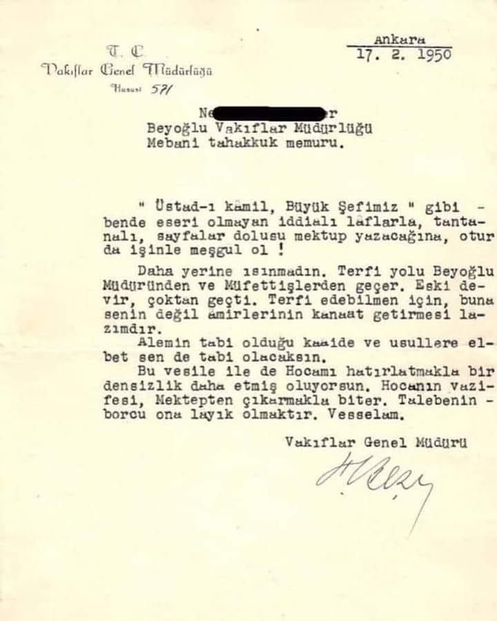 1950 Yılından, Torpile ve Adam Kayırmacılara Bir Cevap