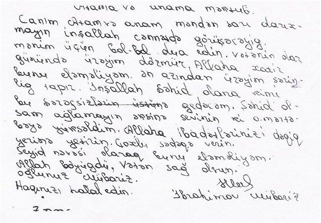 Mübariz İbrahimov'un Mektubu