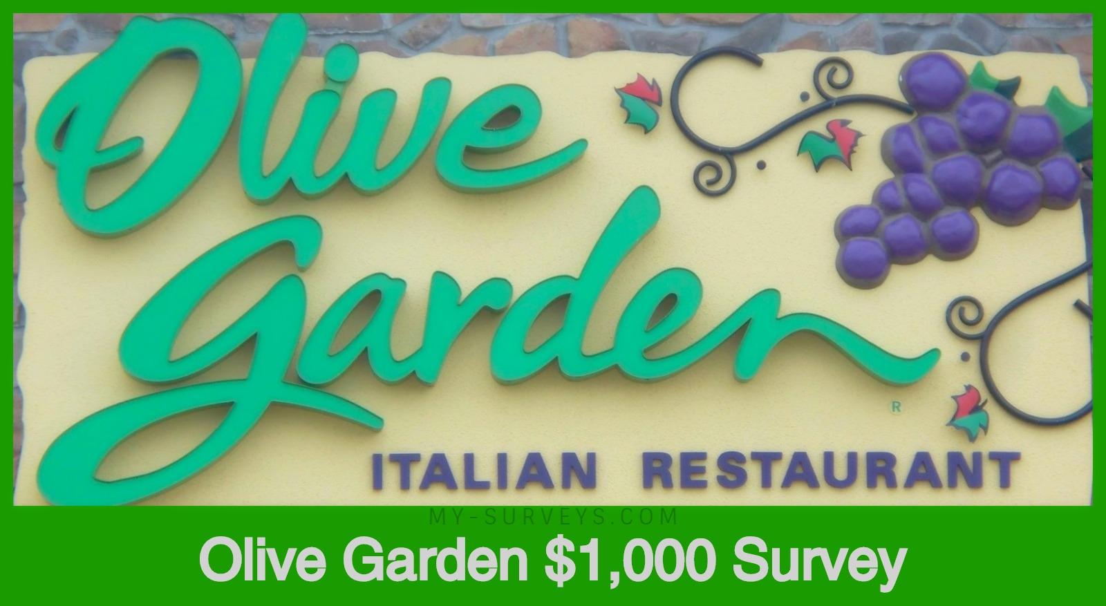 Olive Garden Survey Sweepstakes