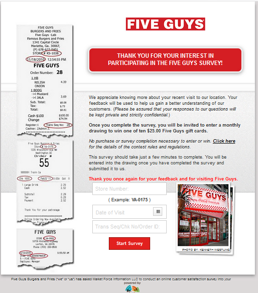 Easy Steps for Five Guy's Survey & Five Guys Sweepstakes Entry