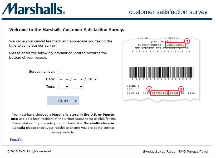 Marshalls Feedback Survey Sweepstake Entry