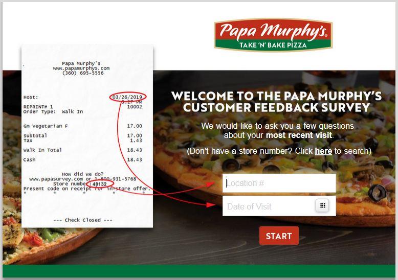 Easy Steps: Papa Murphy's Survey