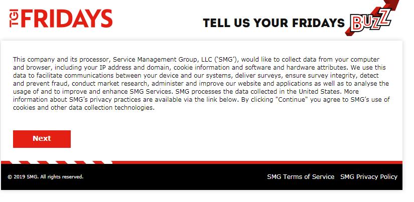 TGI Fridays Customer Feedback Survey