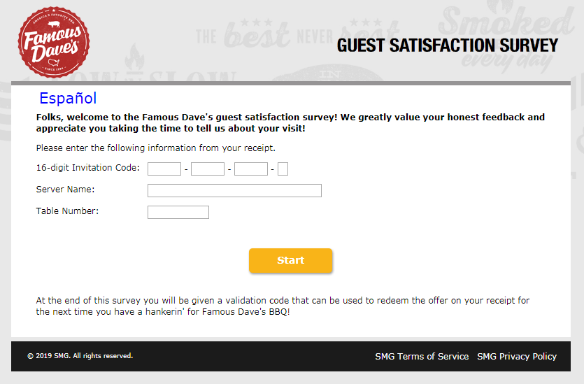 Famous Dave's Guest Satisfaction Survey