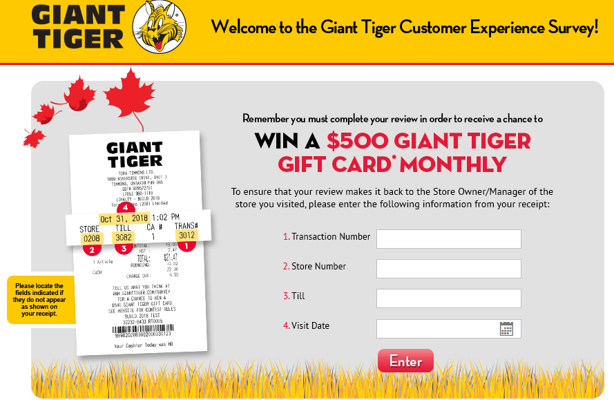 Giant Tiger Customer Satisfaction Survey