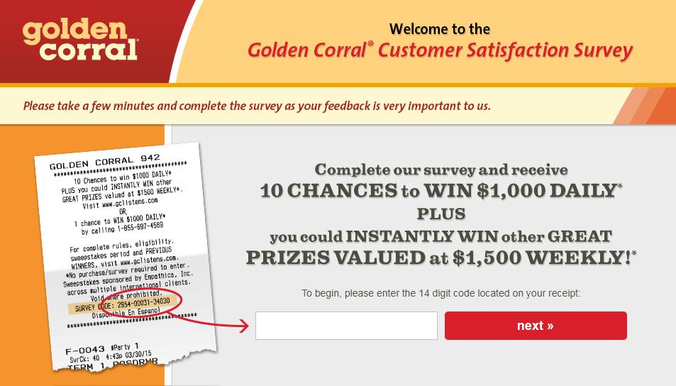 Golden Corral Customer Feedback Survey