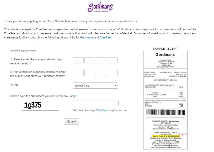 Tell Gordmans Feedback in Customer Survey