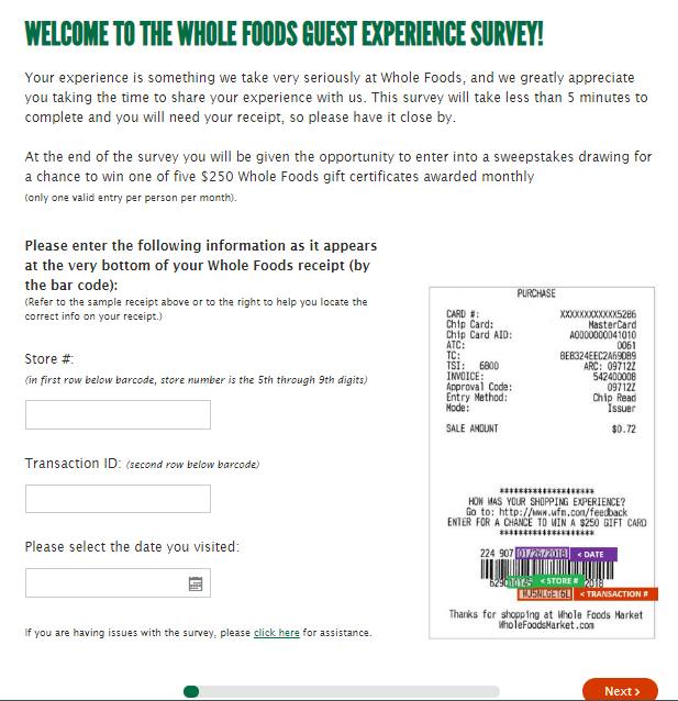 Whole Food Guest Experience Survey