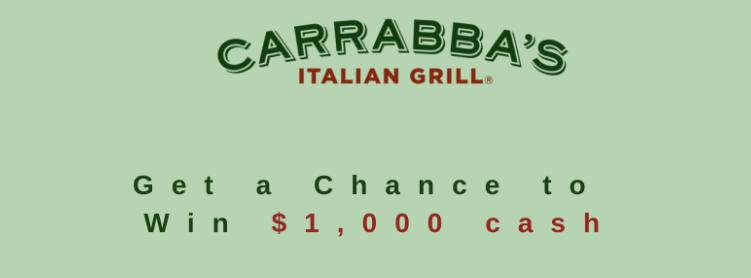 Win $1000 Cash Prize Via Carrabba's Survey