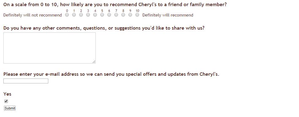 www.Cheryls.com/cco-feedback