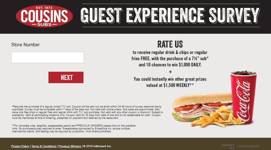 Cousins Subs Guest Experience Survey