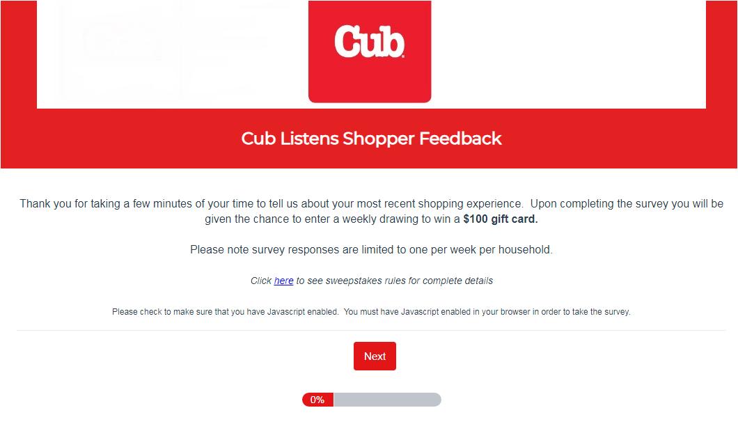 cub foods customer survey