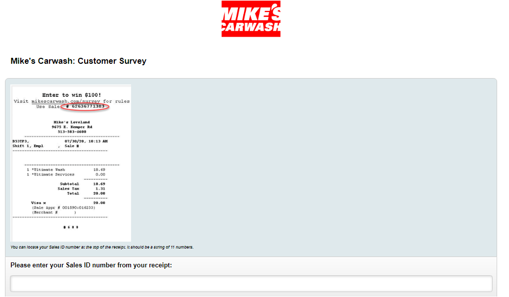 mikescarwash.com/survey Homepage