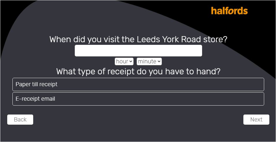 Halfords Customer Survey