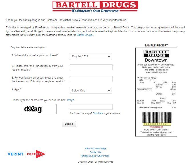 Bartell Drugs Receipt Survey