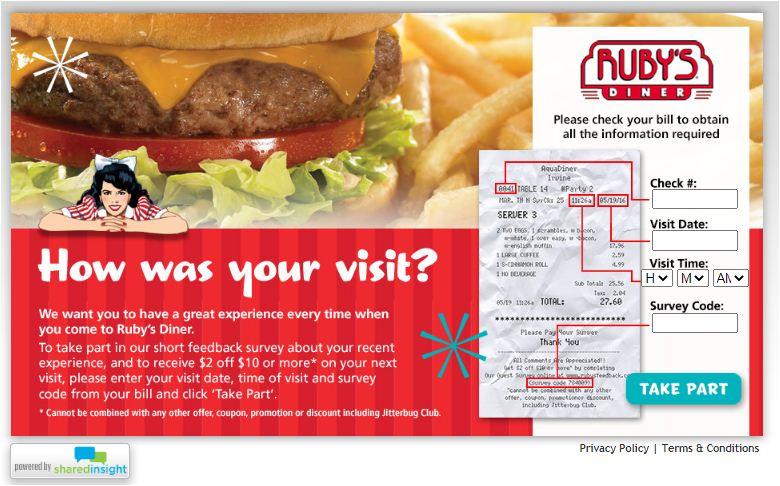 ruby's diner Survey
