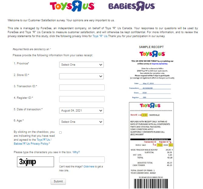 Toys R Us Online Survey