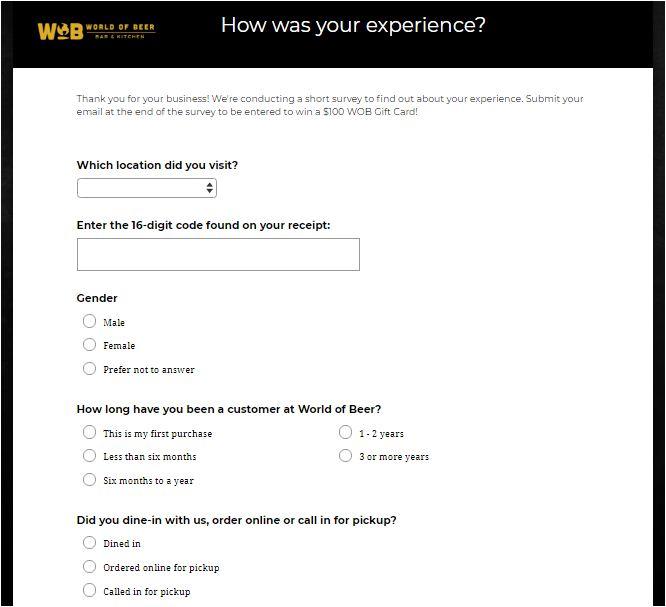 World Of Beer Online Survey
